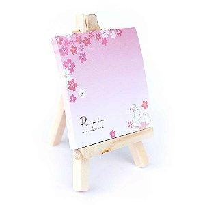 Post-it Com Mini Cavalete 2 Coelhos Flores Sakura Rosa 01