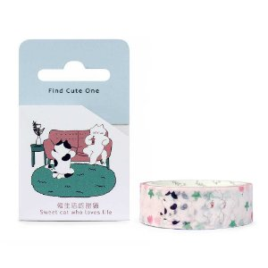 Fita Decorativa Washi Tape - Gatos Sofá Rosa