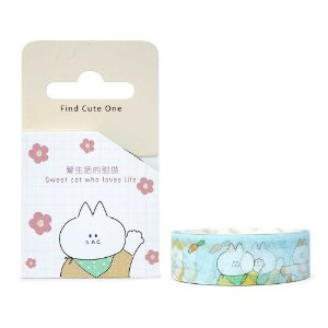 Fita Decorativa Washi Tape - Gatos Cenouras Azul