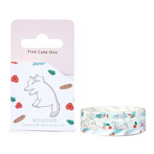 Fita Decorativa Washi Tape - Gatos Floral Branco