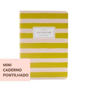 Mini Caderno Pontilhado Pêssego Listrado Para Mini Planner A.Craft