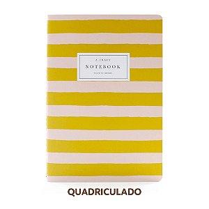Caderno Quadriculado Pêssego Listrado Para Planner A.Craft Tamanho Padrão