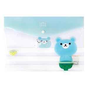Pasta Envelope A4 Fecho Botão Urso Azul