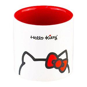 Cachepot de Cerâmica Hello Kitty Cute Red Lace Branco e Vermelho