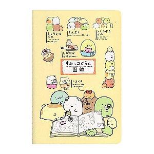 Caderneta Pautada Média Brochura Ilustrada Sumikko Gurashi Amarelo