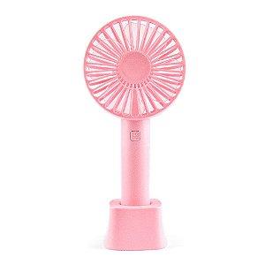 Mini Ventilador Portátil Com Base Rosa