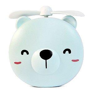 Mini Ventilador Portátil USB Espelho Com Luz LED Urso Azul