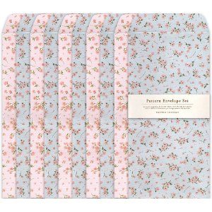 Kit Envelopes Pattern Floral Rosa Floral Azul