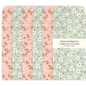 Kit Envelopes Pattern Floral Rosa Floral Verde