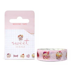 Fita Decorativa Washi Tape - Doces Sweet Today Bolos Rosa
