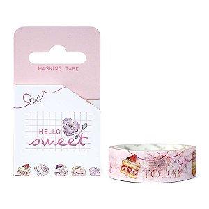 Fita Decorativa Washi Tape - Doces Hello Sweet Bolos Rosa