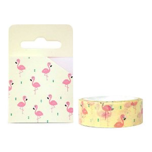 Fita Decorativa Washi Tape - Flamingo Amarelo