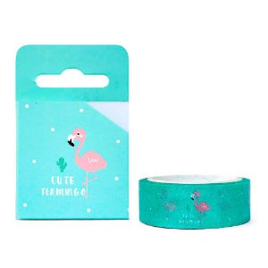 Fita Decorativa Washi Tape - Flamingo Verde