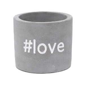 Cachepô Concreto With Love Cinza #Love