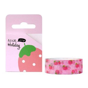 Fita Decorativa Washi Tape - Frutas Morango Rosa