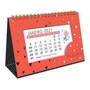 Calendário de Mesa Espiral 2021 Corações Dourados Siga Seu Coração Vermelho