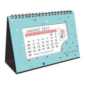 Calendário de Mesa Espiral 2021 Corações Holográficos Siga Seu Coração Azul