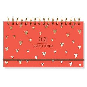 Mini Agenda Semanal 2021 Capa Dura Corações Dourados Siga Seu Coração Vermelho
