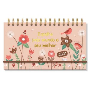 Mini Agenda Semanal 2021 Capa Dura Jardim Espalhe Pelo Mundo o Seu Melhor Floral Rosa