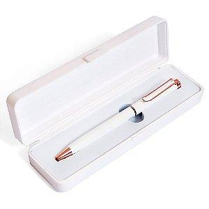 Caneta Esferográfica Azul Com Clip e Caixa Branco