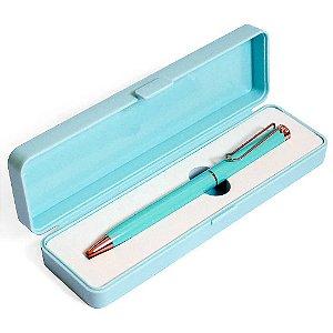 Caneta Esferográfica Azul Com Clip e Caixa Azul