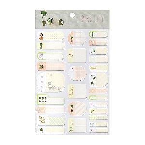Adesivos Etiquetas de Identificação de Papel Com Proteção Plástica - Pink Life Verde