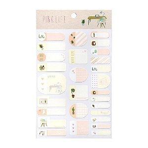 Adesivos Etiquetas de Identificação de Papel Com Proteção Plástica - Pink Life Rosa