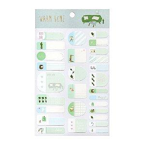 Adesivos Etiquetas de Identificação de Papel Com Proteção Plástica - Warm Home Verde