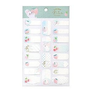 Adesivos Etiquetas de Identificação de Papel Com Proteção Plástica - Coelho Pink Strawberry Verde