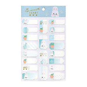 Adesivos Etiquetas de Identificação de Papel Com Proteção Plástica - Coelho Pink Heart Azul