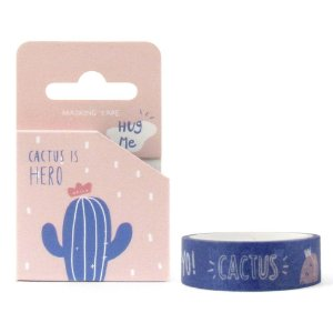 Fita Decorativa Washi Tape - Cactus Is Hero Cactos Azul e Rosa