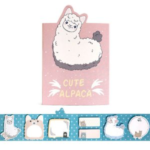 Cartela de Post-it 6 Partes 7 Blocos Cute Alpaca Rosa