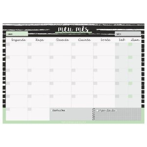 Planner de Mesa Bloco Mensal Meu Mês Preto e Branco - Cartões Gigantes