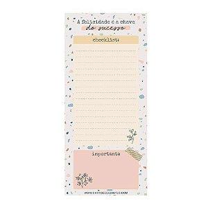 Notepad Magnético Bloco A Felicidade é a Chave do Sucesso Checklist Terrazzo - Cartões Gigantes