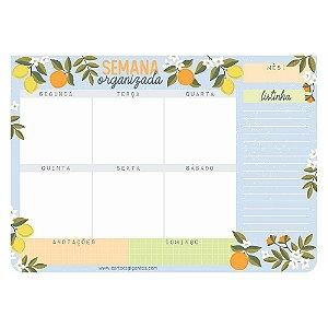 Planner de Mesa Semanal Bloco Week Semana Organizada Citrica Limão - Cartões Gigantes