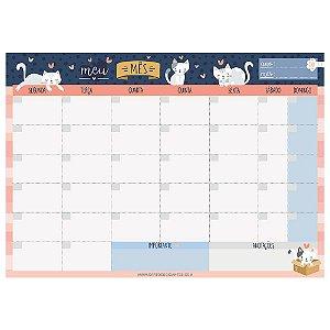 Planner de Mesa Bloco Mensal Meu Mês Cats - Cartões Gigantes