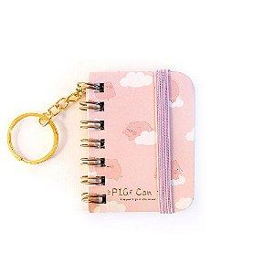 Chaveiro Mini Caderno Espiral Sem Pauta Porquinho Pig Can Fly Rosa - 5 Espalhados