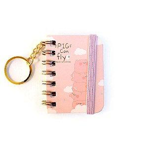 Chaveiro Mini Caderno Espiral Sem Pauta Porquinho Pig Can Fly Rosa - Empilhados