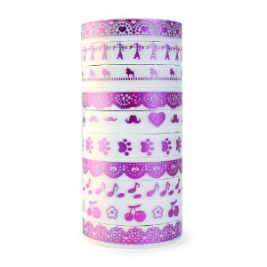 Kit de 10 Washi Tapes Finas Metálicas Foil - Roxo