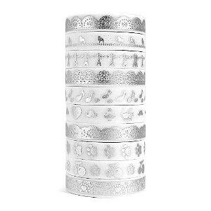 Kit de 10 Washi Tapes Finas Metálicas Foil - Prata