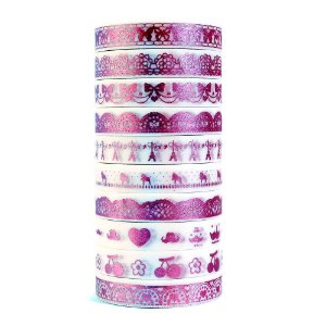Kit de 10 Washi Tapes Finas Metálicas Foil - Rosa