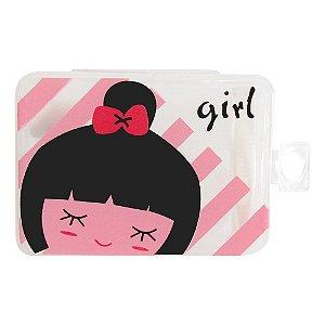 Kit Porta Lente de Contato de Plástico + Potinho + Pinça - Menina Girl Rosa