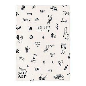 Caderno Brochura Pautado Take Note Desenhos Preto e Branco - Artbox