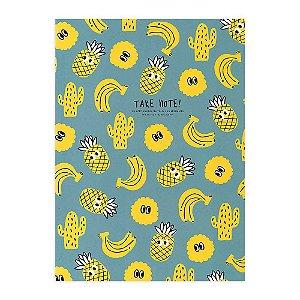 Caderno Brochura Pautado Frutas Azul e Amarelo - Artbox