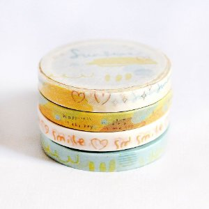 Kit 4 Washi Tapes Finas Ilustradas Amarelo + Adesivo Redondo