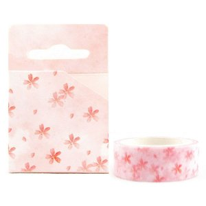 Fita Decorativa Washi Tape - Aquarela Floral Sakura Rosa