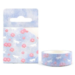 Fita Decorativa Washi Tape - Aquarela Floral Sakura Roxo