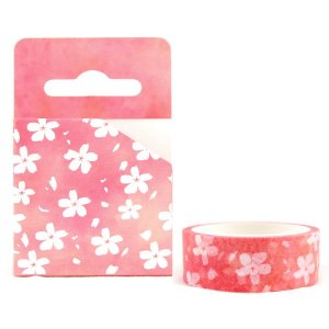 Fita Decorativa Washi Tape - Aquarela Floral Sakura Pink