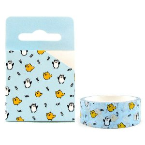 Fita Decorativa Washi Tape - Galapagos Friends Pintinho Iren Pinguim Azul
