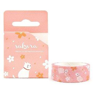 Fita Decorativa Washi Tape - Gatos e Sakura Rosa